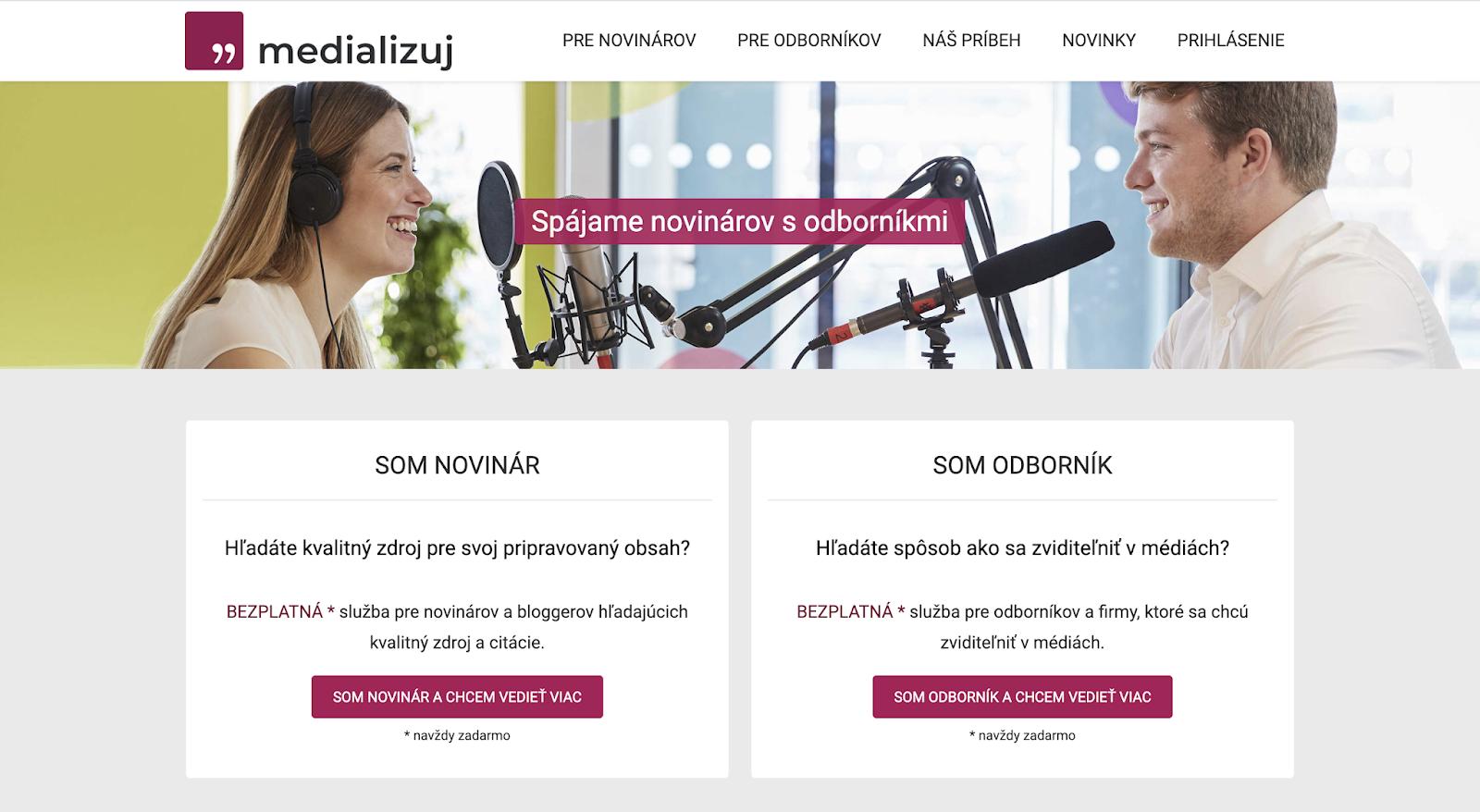 Ukážka webu - Medializuj.sk